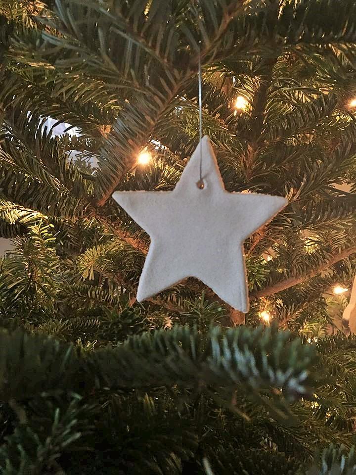 Making a White Star Christmas Ornament using Salt Dough
