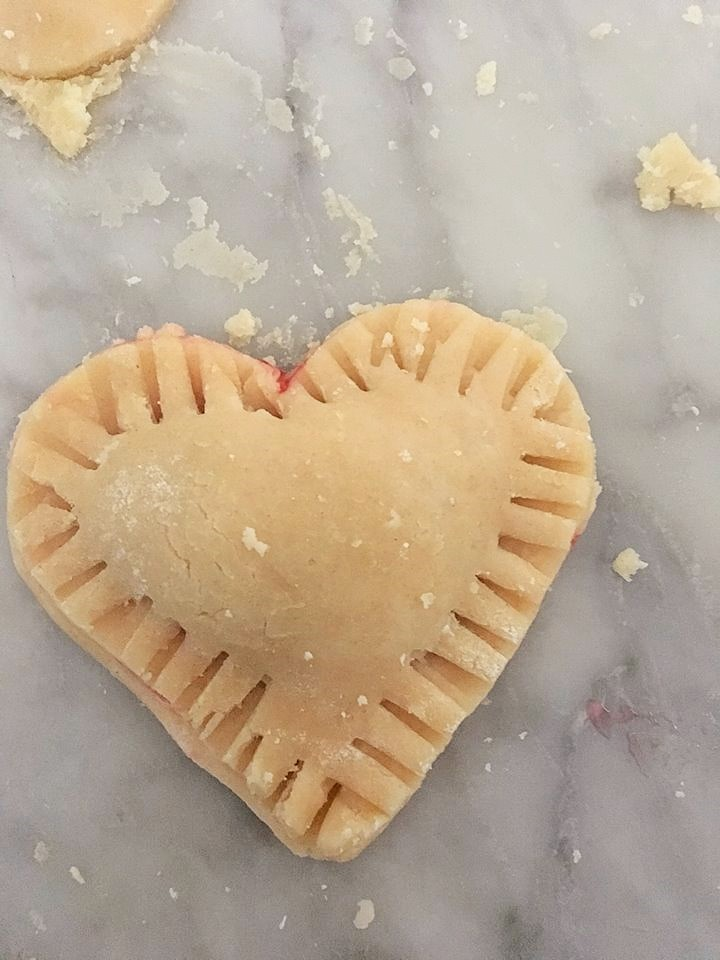 Ready to bake heart shaped hand pies for Valentines day