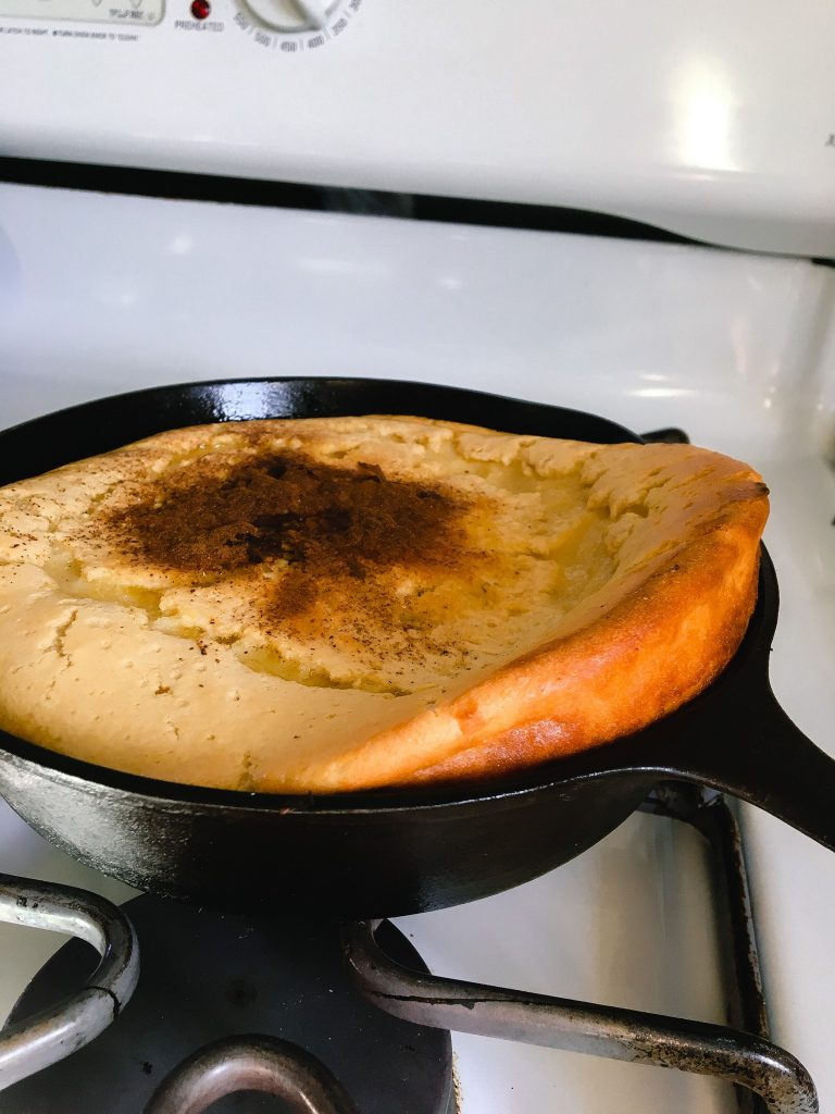 Cast-Iron Sourdough Baked Pancake fresh from the oven