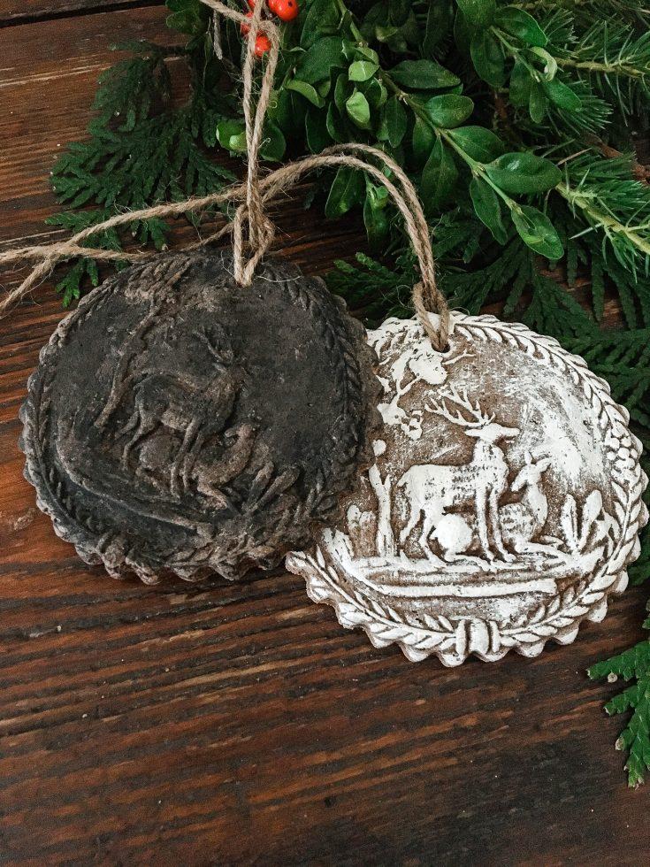 handmade cinnamon ornaments made from springerle molds