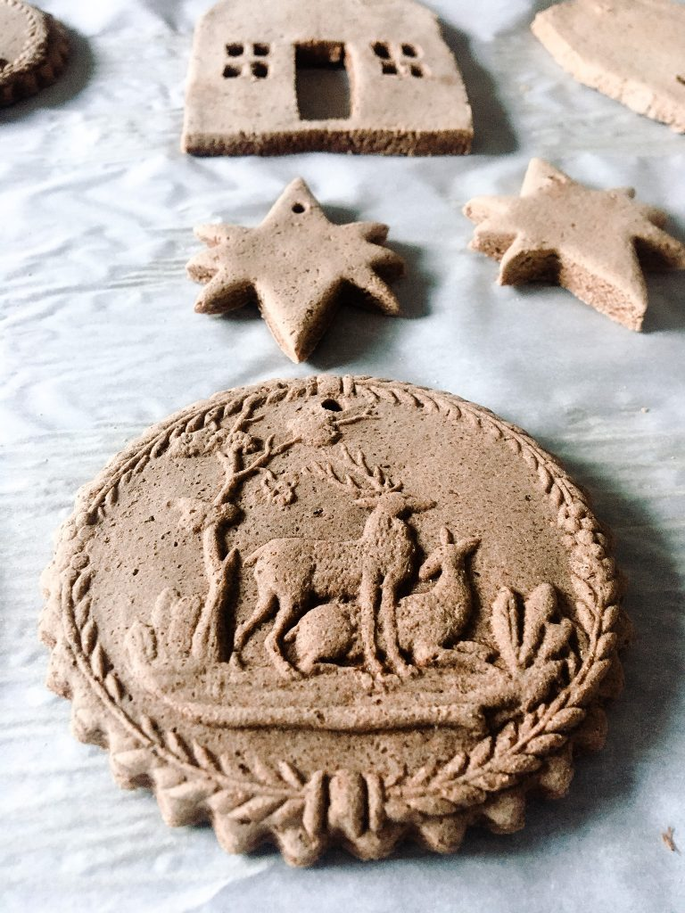 Fresh out of the oven handmade cinnamon ornaments