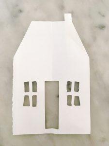 cardboard template of little blue cabin for handmade cinnamon ornaments