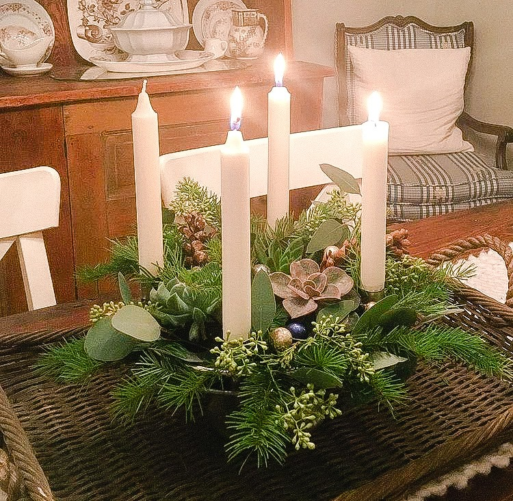 making an Advent Wreath using succulents