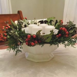 my advent wreath this year, iron stone compote