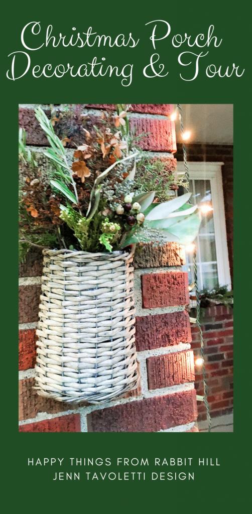Christmas Porch Pin #handmadechristmas #naturalchristmas #frontporchtour #vintagechristmas #jenntavolettidesign