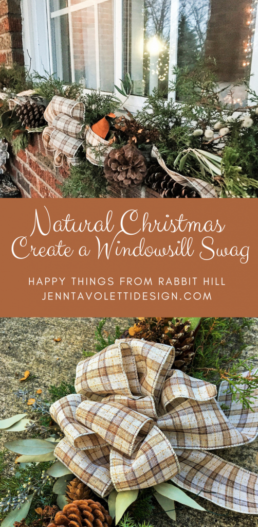Pin Button for Creating a Windowsill Christmas Swag #Christmasdecor #countryliving #countrydecor #Christmasswag #naturaldecor