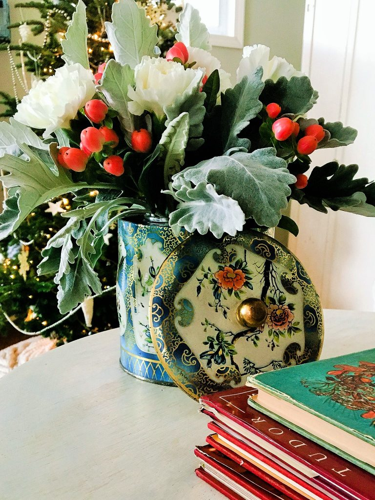 vintage Christmas home tin and fresh flowers