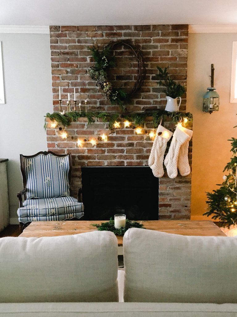 The full view of our vintage homemade christmas mantle