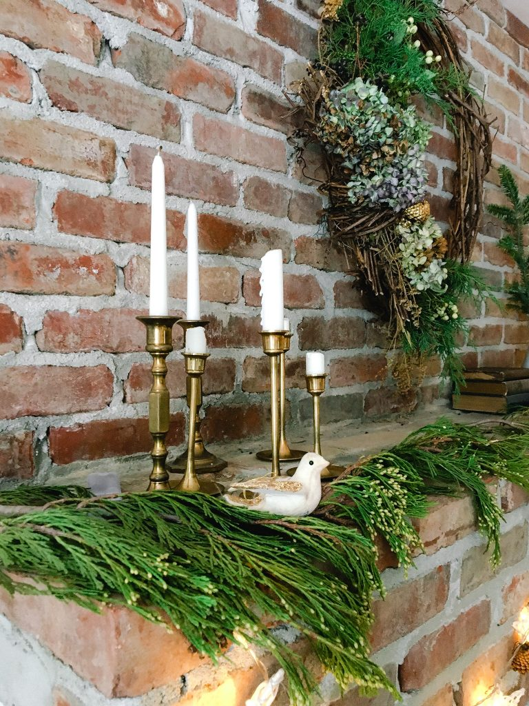 Vintage brass candlesticks at home for Christmas