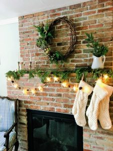 My homes vintage inspired mantle for Christmas