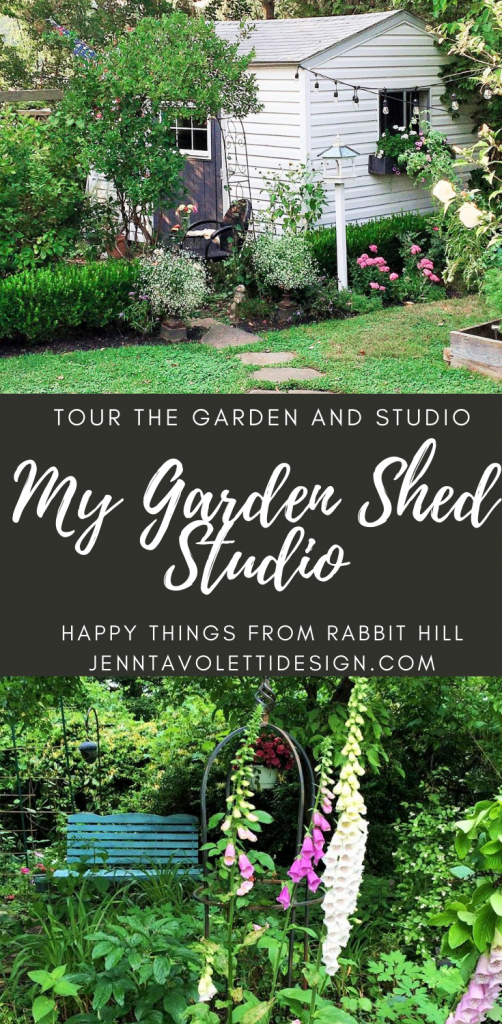 Tour my garden shed studio. Inside a cottage styled studio, and the outside English cottage gardens. jenntavolettidesign rabbit hill