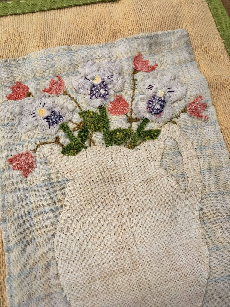 hand stitched spring blossoms wall hanging