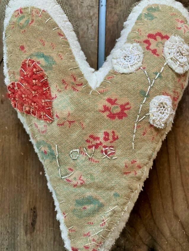 Handmade Hanging Heart – Pincushion Flower – SOLD
