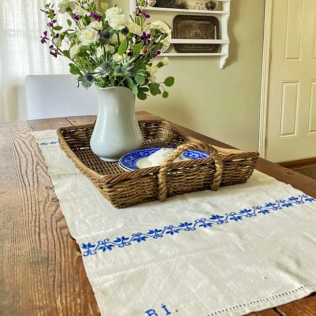 Home Tour Dining Room with vintage blue linens and antique ironstone