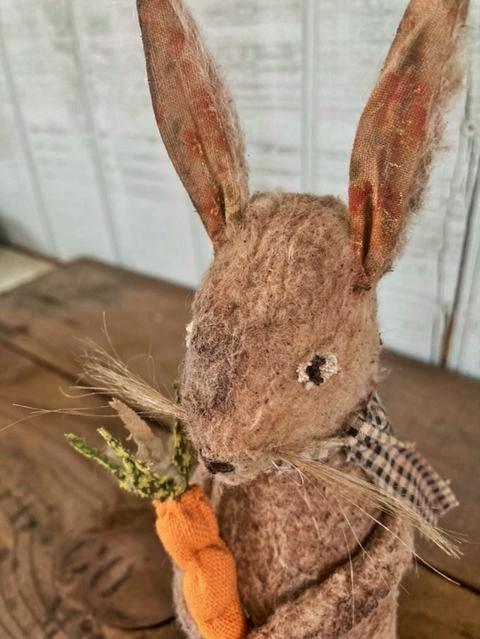 Textile Garden Rabbit with Carrot – All Sold