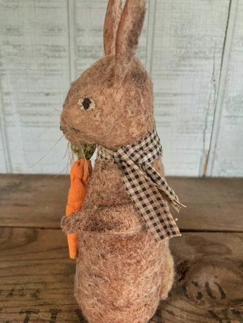 Folk Art garden bunny rabbit made to look old and well loved.