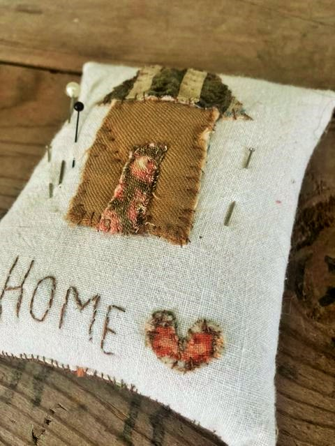 """Home is Where the Heart is"" pincushion ~ Vintage and Antique textiles used"