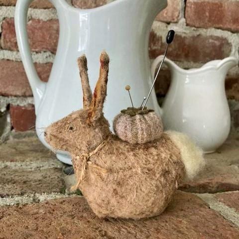 Little Rabbit Pincushion Folk Art