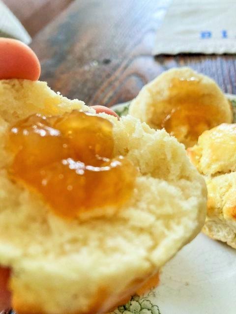 cut Irish scone with jelly