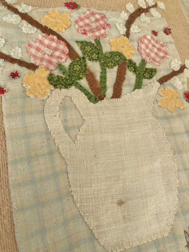 Ironstone Pitcher Stitchery -Botanical Textile Art