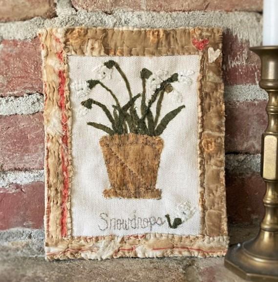 Handmade botanical textile folk art snowdrops made from salvaged antique fabrics