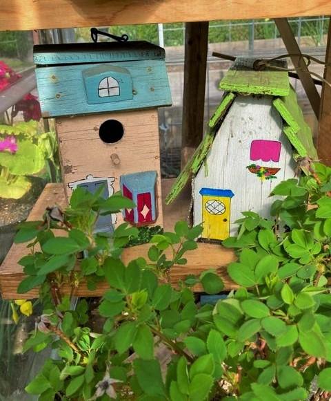 Vintage birdhouses found at an estate sale