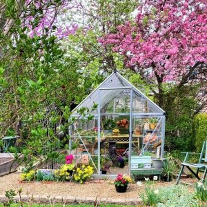 A tour inside our small backyard greenhouse this spring