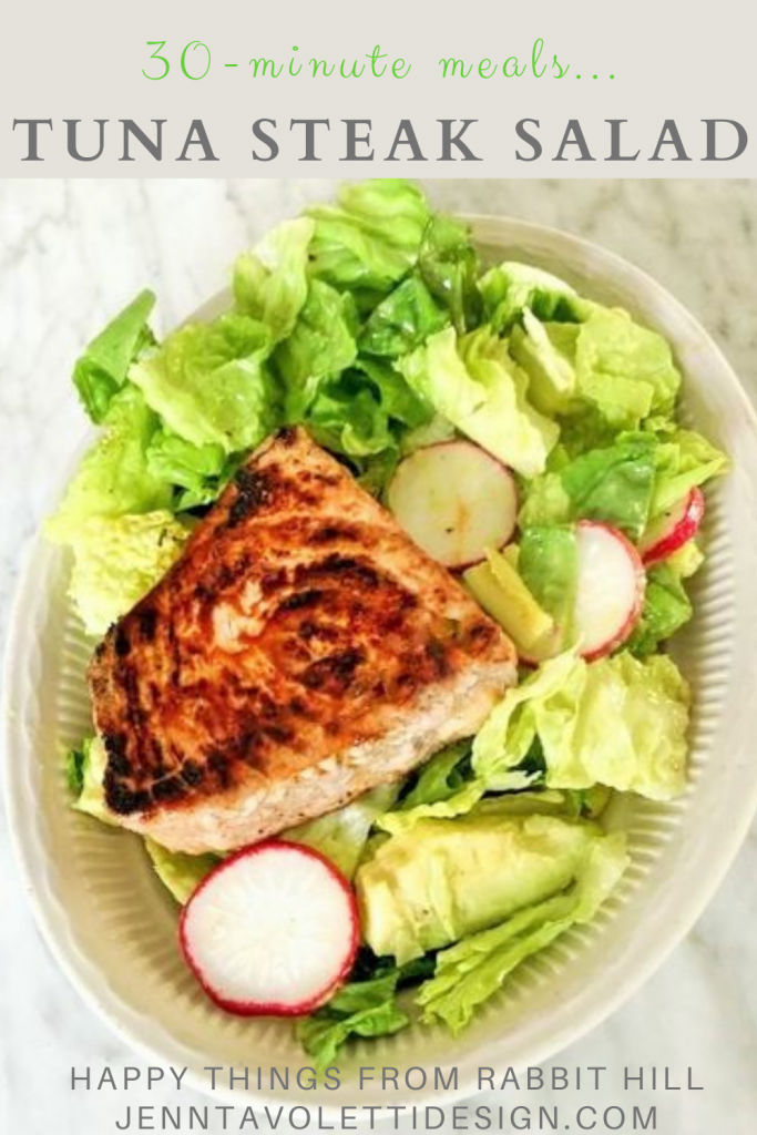 pin this for a delicious healthy tuna steak salad recipe in under 30 minutes