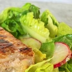 avocado, romaine lettuce, and radishes complement this tuna steak salad