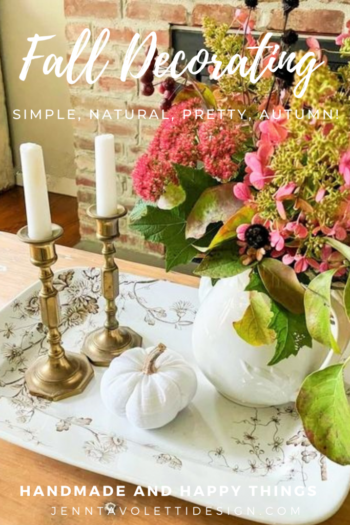 Decorating a fall living room using antique or vintage, handmade, and fresh natural pieces ~ thrifted and foraged!